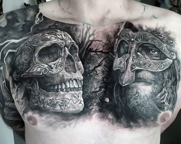 Skull Chest Tattoo Female: Knight Face And Skull Chest Tattoo