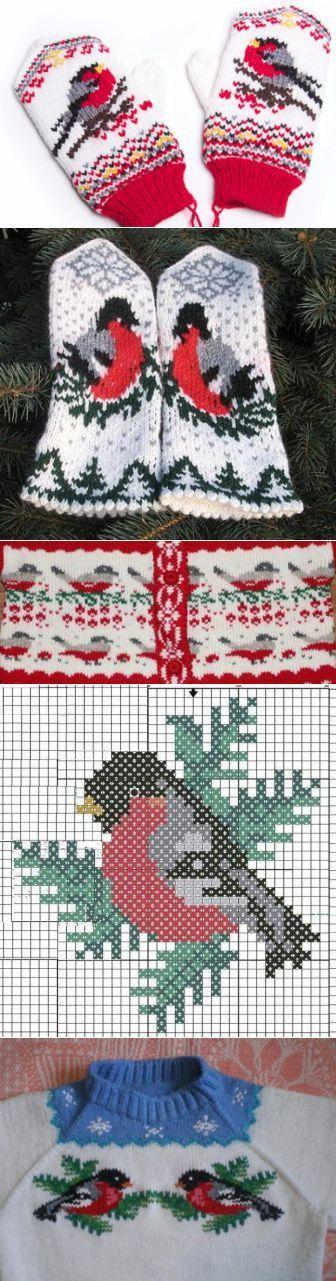 Орнамент 'Снегирь'. Схемы для вязания. | Дамская копилка | Варежки, перчатки, митенки | Постила