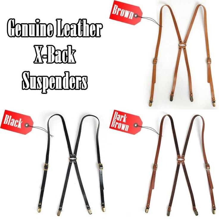 New Genuine Leather Suspenders X-Back Retro Adjustable Tuxedo Suit Braces Clip  #followthehappiness