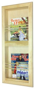 Camarillo Double Bevel Frame Recessed Magazine Rack contemporary-magazine-racks