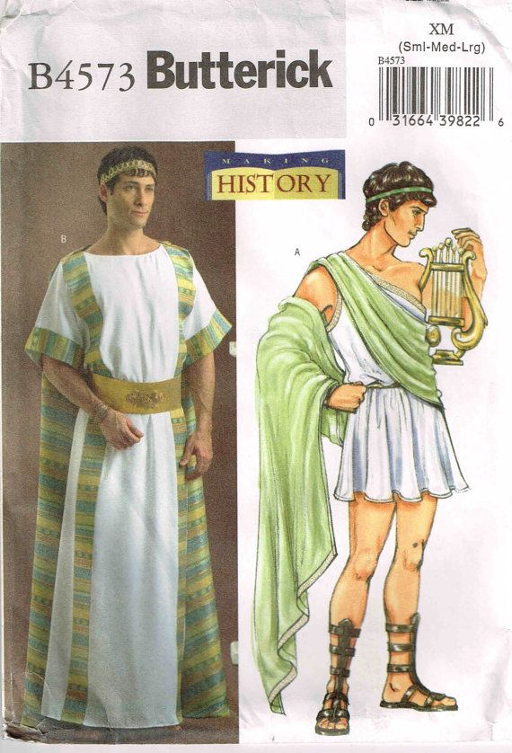 Mens Ancient Greek Tunic Robe Sewing Pattern Butterick 4573 Halloween Costume by PeoplePackages