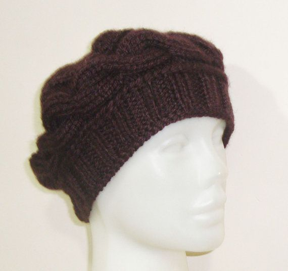 Hand Knit Hat WOMENS HAT in Coffee BROWN Hat Winter by earflaphats