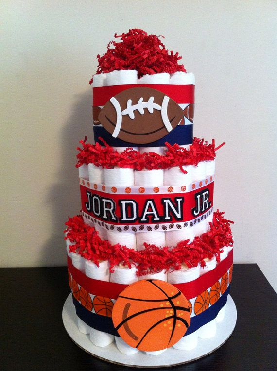 3 Tier Sports Diaper Cake Boy Baby Shower by BabeeCakesBoutique