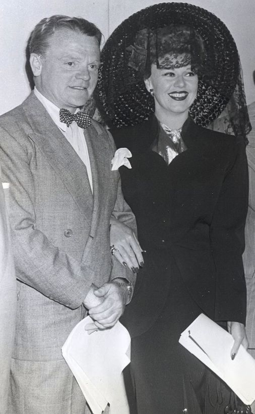 James Cagney and Ginger Rogers at an Armed Forces Radio Service broadcast. Photo dated 1945 but likely from Sept. 30, 1944.
