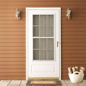 EMCO 300 Series 36 in. White Aluminum Triple-Track Colonial Storm Door with Brass Hardware-E3CTT36WH at The Home Depot- another option for front or back storm door replacement