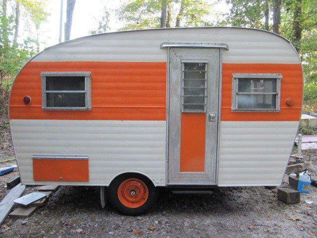 Orange And White Vintage CaravansVintage Travel TrailersVintage CampersTiny TrailersCamper TrailersSmall
