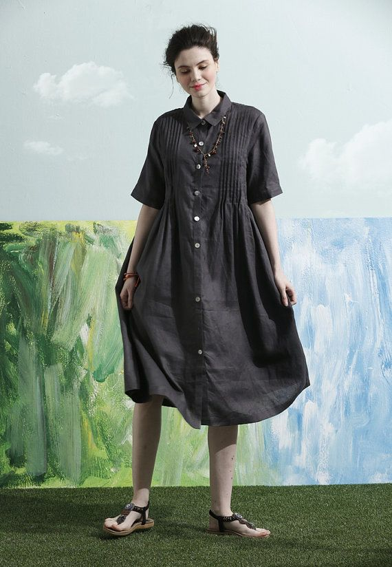 Linen Shirt Dress in Charcoal for women (1) ❤ 100% Linen Guarantee. We choose best linen that wont wrinkle or fade. No Cheap Linen Blend! (2) ❤ Fast Shipment. 1-3 days to ship.  【Details】 1. beautiful handmade tucks all on the front and back 2. single breasted with wood buttons. 3. stand collar. 4. two pockets. 5. flattering bottom simple graceful.  【Fabric】 •High-end linen developed by Camelliatune in this quarter •100% linen •Use 66-yarn fabric to form distinct texture through special…
