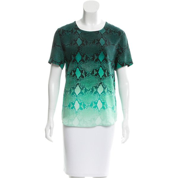 Pre-owned Equipment Ombr? Silk Top ($65) ❤ liked on Polyvore featuring tops, green, short sleeve tops, silk top, crew neck top, print top and ombre top
