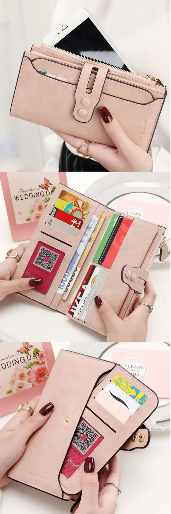 $12.45 Women PU Hasp Long Wallet