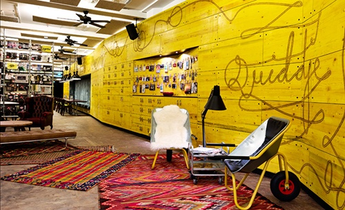 Superbude in Hamburg, Germany is an eclectic mix of modern bliss.  Image Source superbude.de