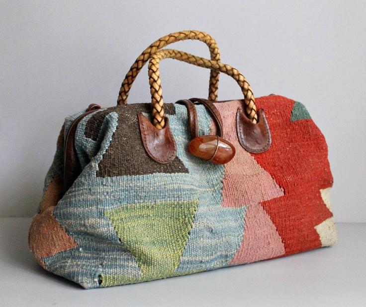 1970s Handbag / Vintage Handbag / Southwestern Tapestry Doctor Satchel. $74.00, via Etsy.