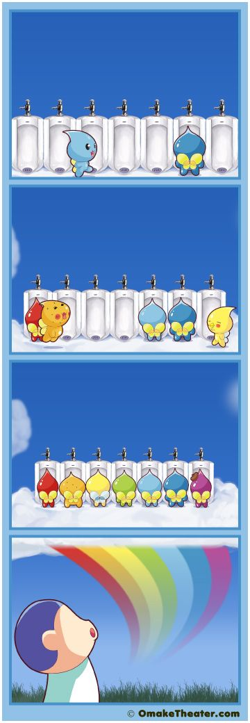 Ever wonder where that rainbow got its color? Well, here's your answer... starring Pururun! Shizuku-chan. Hanaji (はなぢ君): Nosebleed Sprite  Aseo (アセオ君): Sweat Sprite  Yodare (ヨダレ君): Drool Sprite  Hanatare (はなたれ君): Snot Sprite  Shizuku (しずくちゃん): Raindrop Sprite  Namida (なみだ君): Tears Sprite  Monsieur-Vino(ヴィーノ氏): Red Wine Sprite   Awesome 4 panel comic (yonkoma/4-koma) strip :)