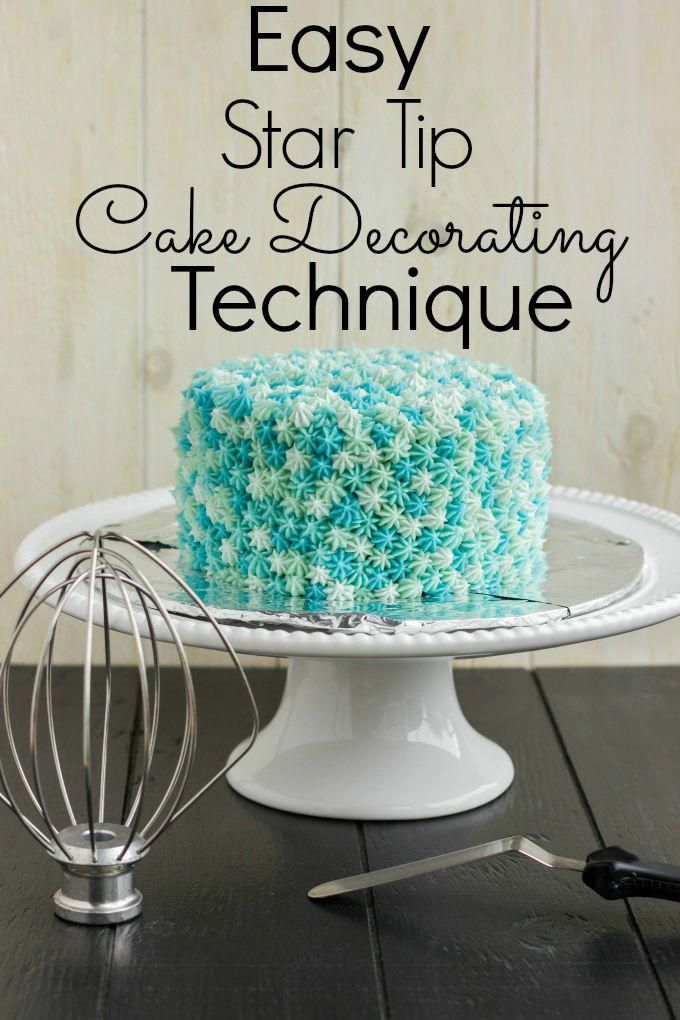 Easy Star Tip Cake Decorating Idea Very Easy But A Little Bit Of Work Four Shades Of Blue But Feel Free To Use Any Colour You Like