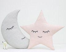Set of moon and star pillows, light pink and gray pillows, children's pillows, kids room decor, nursery decor, kids pillows, baby bedding.