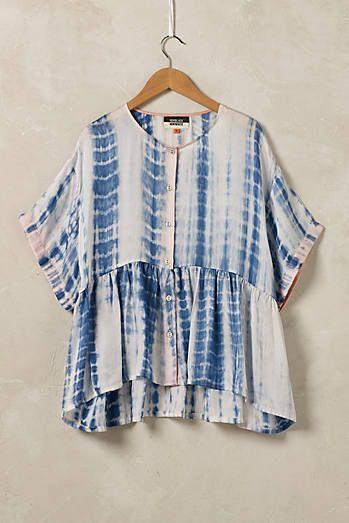 Chemisier en soie Shibori, bleu