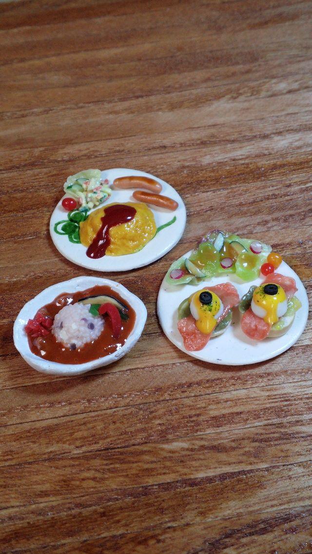 『今日はカフェごはん♪』夏野菜カレー・エッグベネディクト・オムライス等のミニチュアフード 3個セット♪