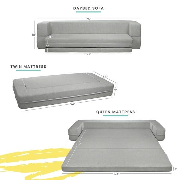Milliard Daybed Sofa Couch Bed Queen To Twin Folding Mattress