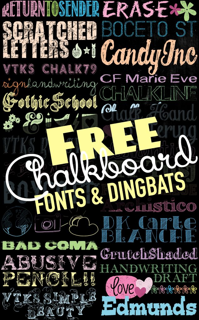 I am totally addicted to fonts.  All fonts!  When people talk about Font Snobs, I am afraid I fall under that category. Recently I was looking through my font folder and noticed that I am a bit addicted to the Chalkboard type and dingbats.  Here are some of my favorites just in time for Back …