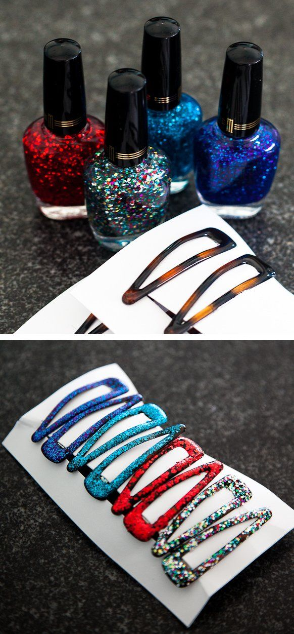 Glittery barrettes as a cute gift idea OR when you are in need of matching accessories...you could use the same nail polish to paint old earrings, bracelets, etc.