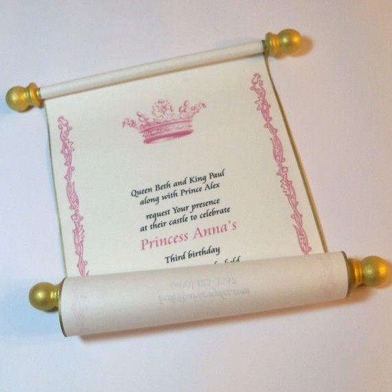 Royal princess party scroll  invitation, customized  - set of 10