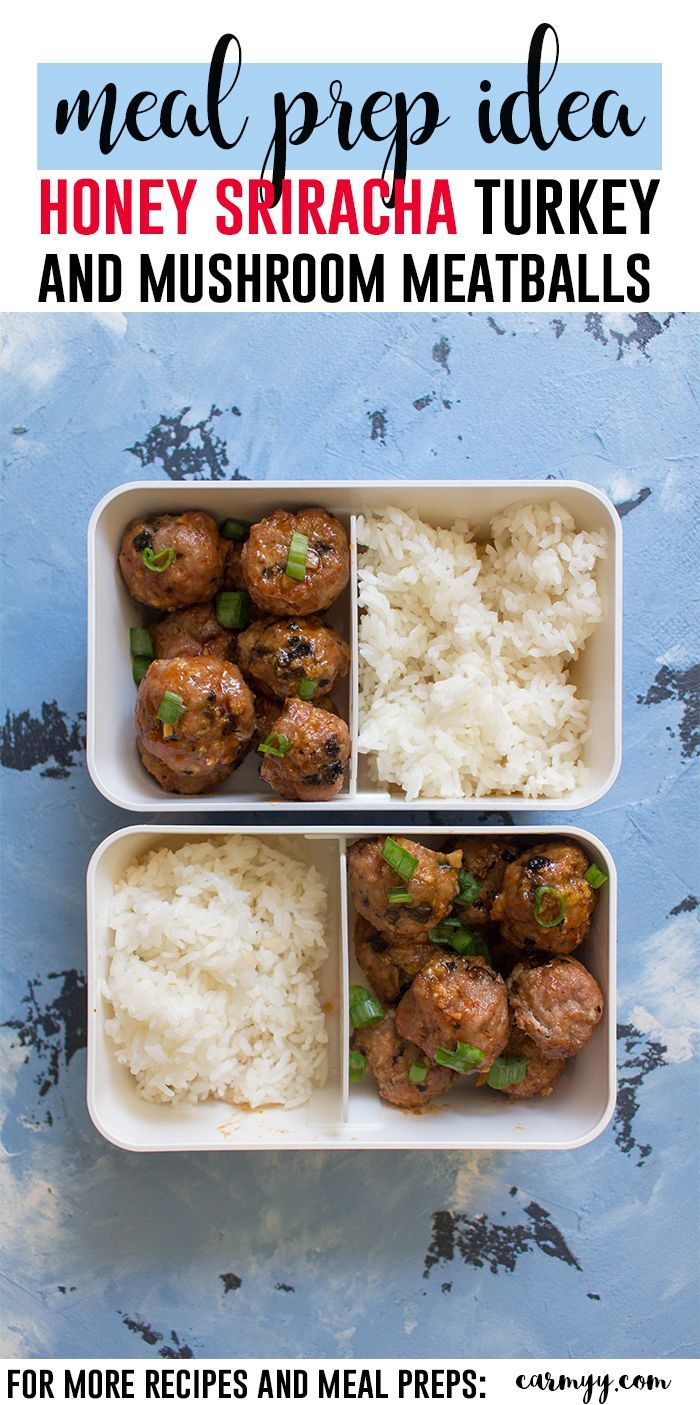 These Honey Sriracha Turkey and Mushroom Meatballs are the perfect blend of sweet and spicy that leaves you wanting more. These are perfect as an appetizer or as part of your weekly meal prep #turkeymeatballs #turkey #meatballs #mealprep #healthy #healthyrecipes #recipe