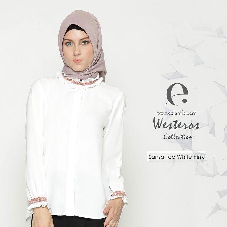 Good Night Ladies.. Kemeja putih tidak harus yang biasa biasa saja tampil #extra #ordinary dengan sansa #top. Kemeja putih ini juga hadir dengan pilihan white pink selain white cream.  Be #unique with eclemix. Available on www.eclemix.com and www.hijup.com  #eclemixcatalog  #eclemix #fashion #localbrandindonesia #hijab  #hijup #myHijup