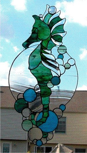 stained glass: Glasses Seahorses, Stained Glass