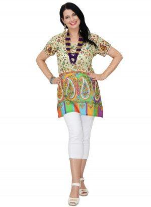 Hope Mid Length Beige Muliti Coloured Tunic Top  $24.95