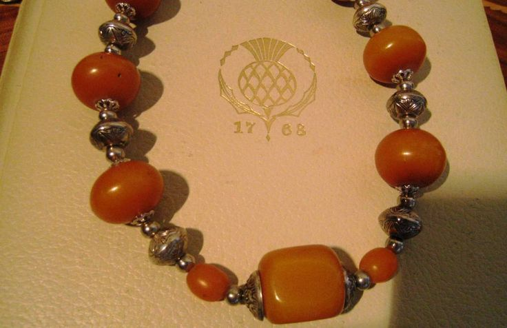 Amber and Silver necklace- stunning for all ages and styles by NecklaceTech on Etsy