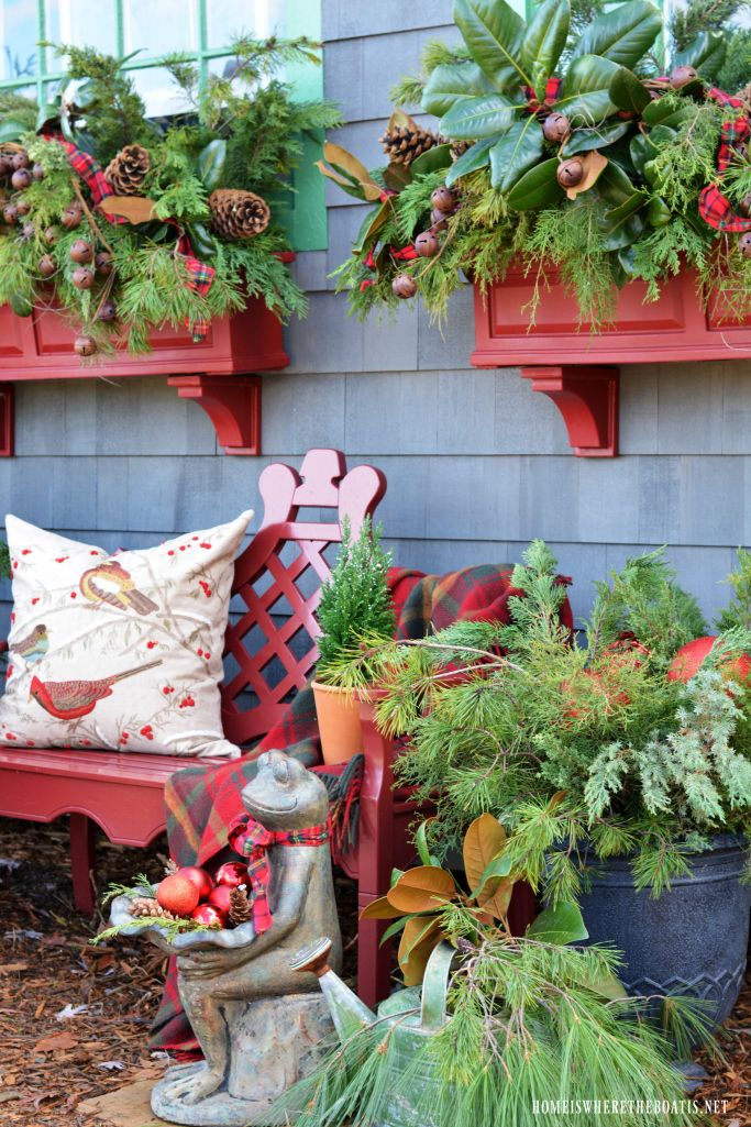 Sprucing up the window boxes for Christmas with greenery, pine cones, tartan ribbon and rusty metal jingle bell garland | homeiswheretheboatis.net #PottingShed