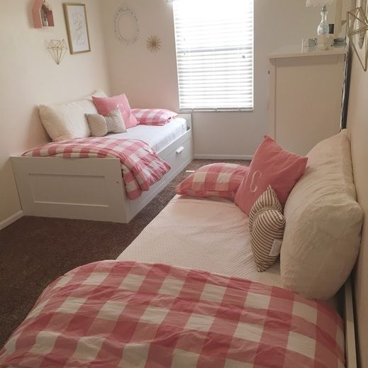Ikea Beds. Tiny Space. Little Girl Room. Pink And Gold . Twin Bedroom Awesome Design