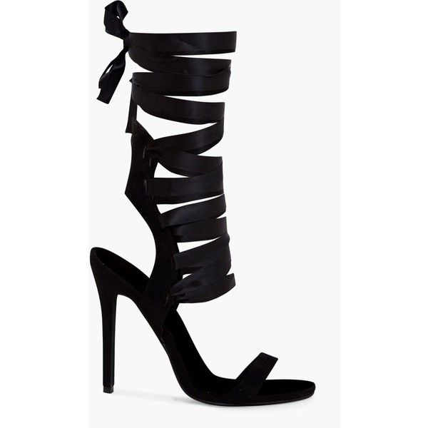 Lorele Black Ribbon Lace Up Heeled Sandals ❤ liked on Polyvore featuring shoes, sandals, black shoes, black sandals, ribbon tie shoes, heeled sandals and kohl shoes