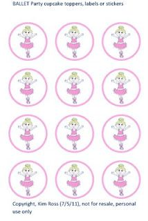 Tea Time, Parties & Cupcakes: (FREE) ON YOUR TOES Ballet Party cupcake toppers, ...