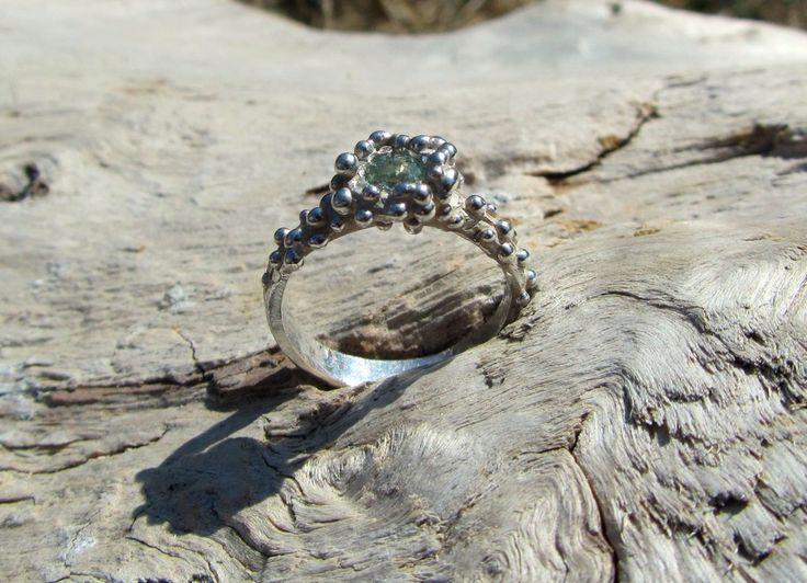 "Emma Glover  \""Anemone\"" Green Sapphire Ring"
