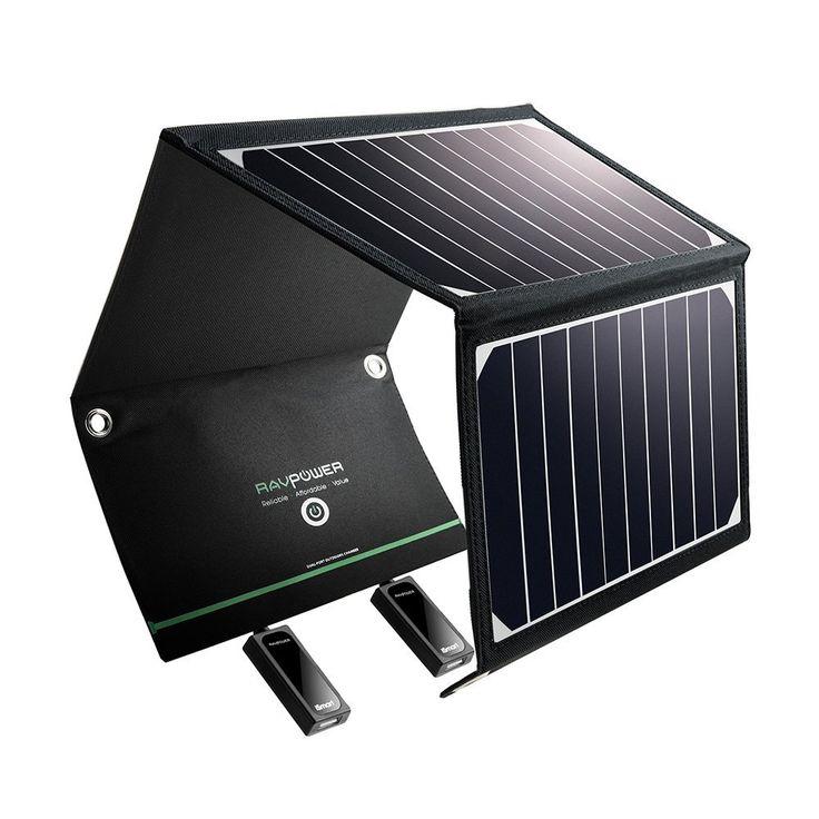 RAVPower 16W Solarladegerät Outdoor Charger mit 2 iSmart-USB-Port (21,5-23,5% Sonnenlichtumwandlung, leicht, faltbar, wasserdicht, 4 Löcher zur Aufhängung)