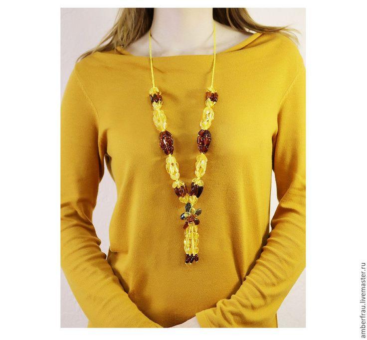 Купить Янтарное колье кукуруза с цветком (арт. 165) - желтый, янтарь, янтарь натуральный