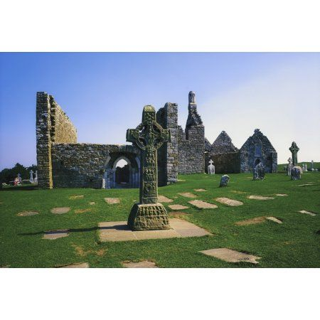 Clonmacnoise Co Offaly Ireland West Cross Cross Of The Scriptures Canvas Art - The Irish Image Collection Design Pics (18 x 12)