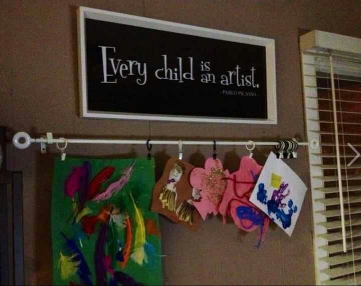 Kids art display- kinda like the rod with the clips