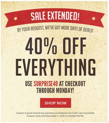 Shop For Free: Hot 40 Percent Off Twice Coupon + Get $10 To Shop For (Today Only!) I got 3 skirts from Banana Republic, American Eagle Outfitters & Urban Outfitters, for $0.51 Shipped!