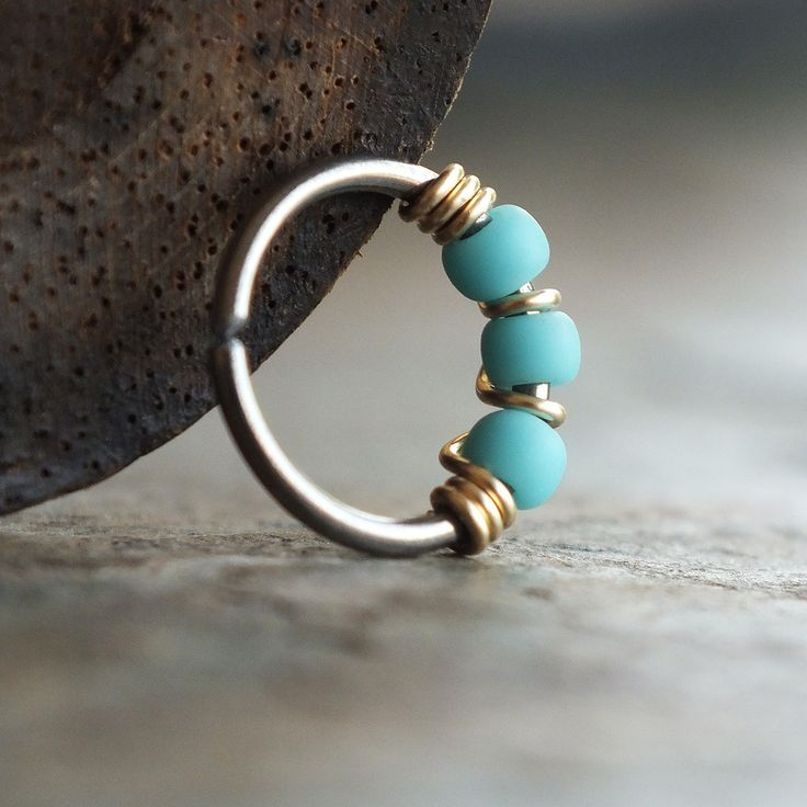 Gilded, Beaded Nose Ring Hoop from Caterpillar Arts #nosering #piercing