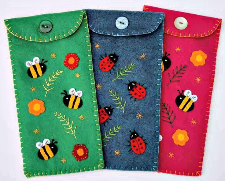 Ladybird pencil case, blue felt. $27.00, via Etsy.