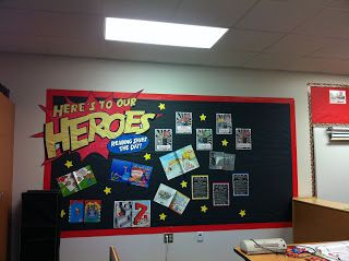 """""""Here's To Our Heroes"""" bulletin board- celebrate everyday heroes Use above our Biography Section with phrase """"Here's to our Heroes throughout History"""""""