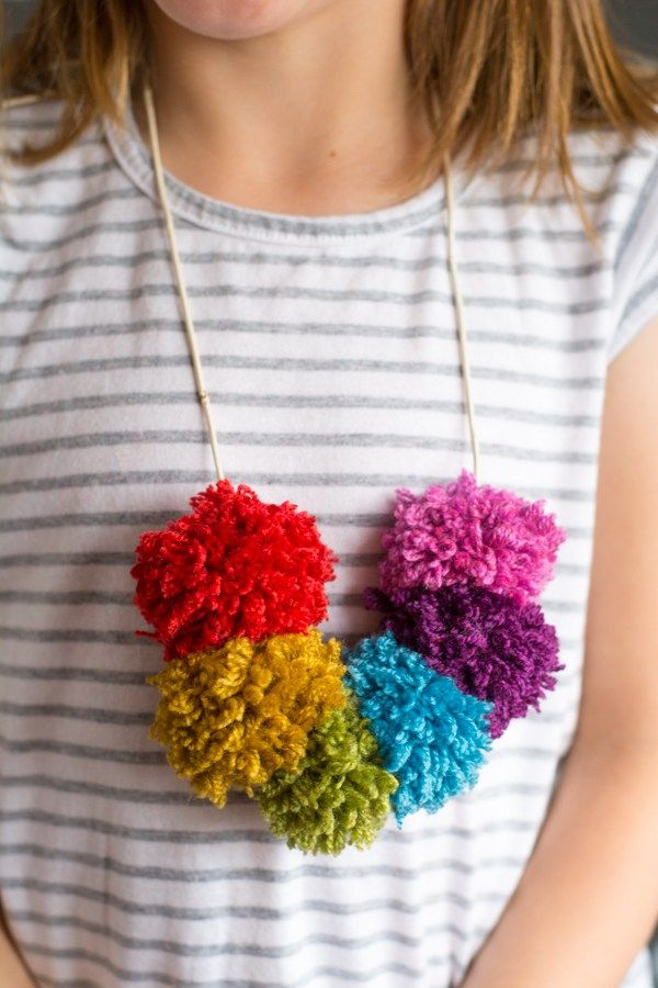 Make a Rainbow Pom Pom Necklace!   this heart of mine