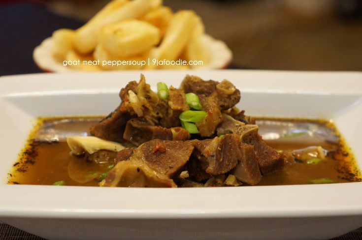 Pepper soup is simply meat in a spiced broth, the peculiar taste comes from the spice mix. It is commonly made with goat meat or catfish. Pepper soup is q