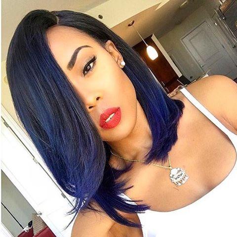 Love this midnight blue bob ✂️@iamjaelroumain  #voiceofhair #miamihair #atlhair #wig ========================== Go to VoiceOfHair.com ========================= Find hairstyles and hair tips! =========================