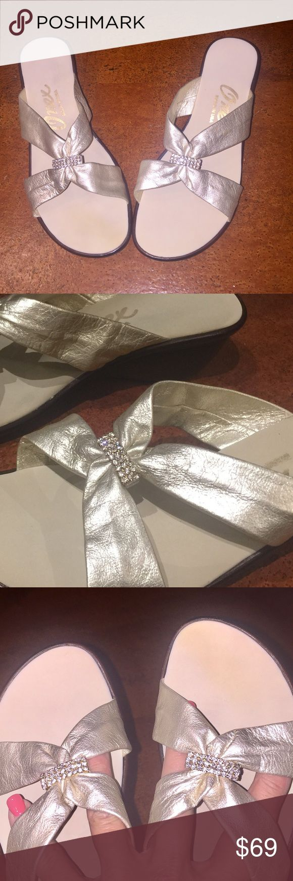 Dressy platinum leather, sparkly mules Brand new, in box, platinum leather, hand made in the USA, low heeled mules. Heel is just under 2 inches. These shoes are comfortable! Onex Shoes Mules & Clogs