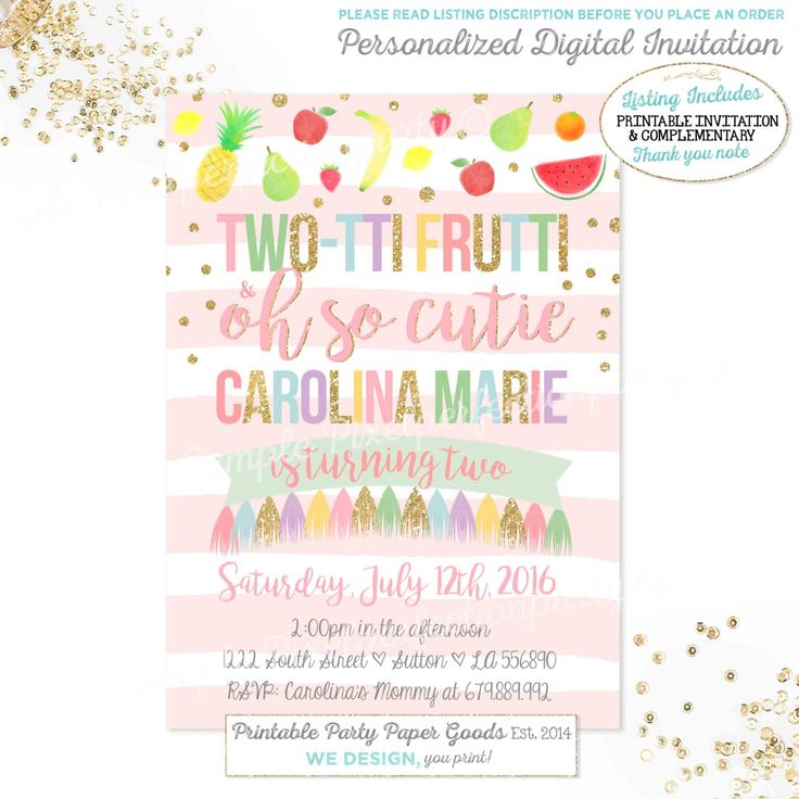 Tutti Frutti Birthday Invitation TWO-TTI FRUTTI Birthday Invitation Girl 2nd…