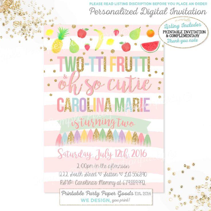 Tutti Frutti Birthday Invitation TWO TTI FRUTTI Girl 2nd Fruit Pool Party Invite
