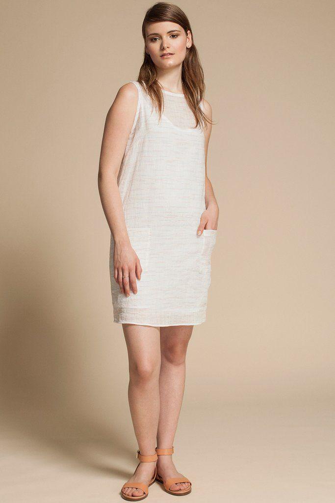 Trust Dress by Canadian fashion designer Jennifer Glasgow. Sleeveless shift dress in beautiful white Japanese cotton gauze. Ethically made in Montreal, Canada.