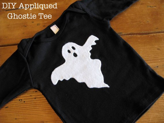 diy appliqued ghost tee - Homemade Halloween Shirts